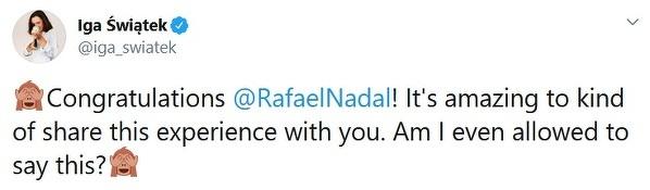Iga Świątek pogratulowała Rafie Nadalowi