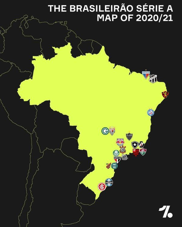 Piłkarska mapa Brazylii sezonu 2020/21