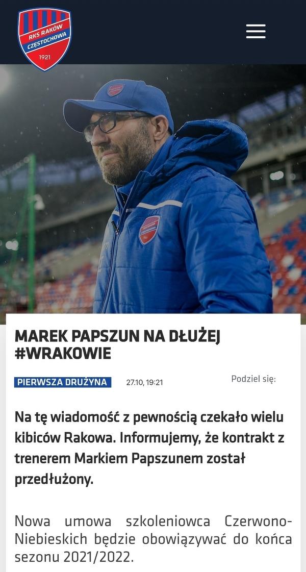 Marek Papszun przedłużył kontrakt z Rakowem