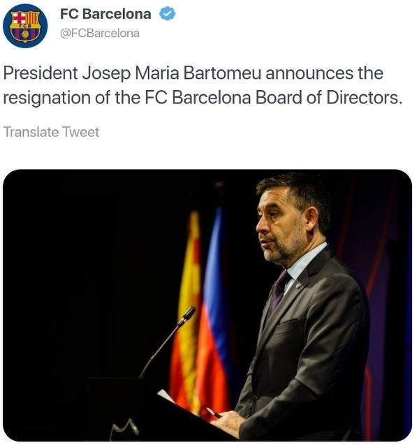Josep Maria Bartomeu zrezygnował z funkcji prezydenta FC Barcelony