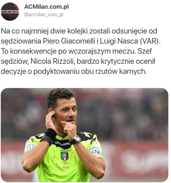Sędziowie meczu Milan - Roma zostali zawieszeni