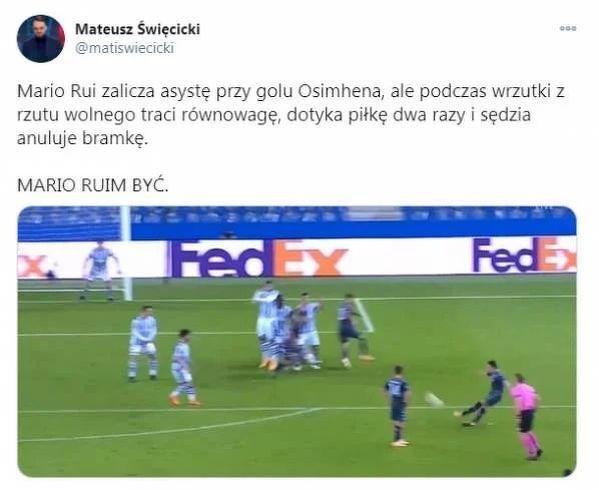 Pech Mario Ruiego przy nieuznanym golu dla Napoli
