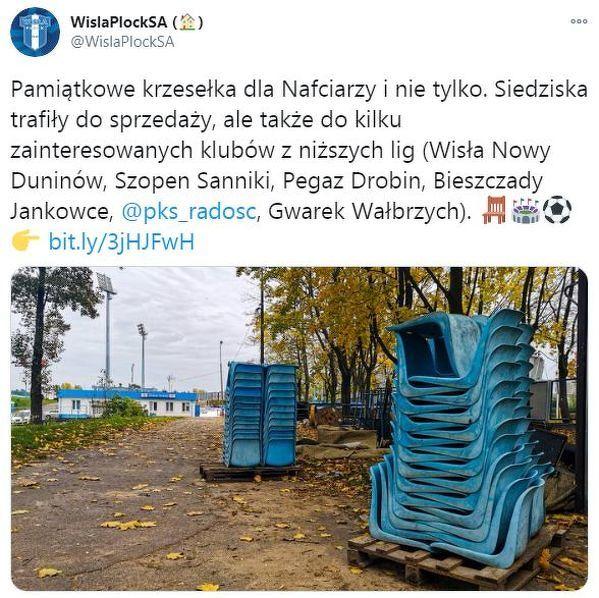 Wisła Płock oddała krzesełka klubom z niższych lig