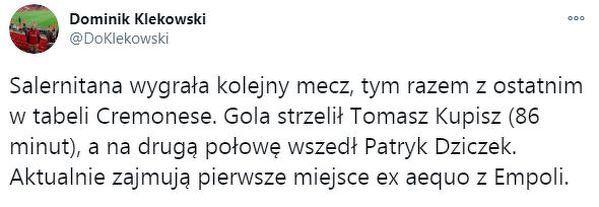 Klub Polaków liderem Serie B