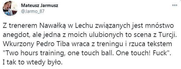 Reakcja Pedro Tiby na treningi u Nawałki