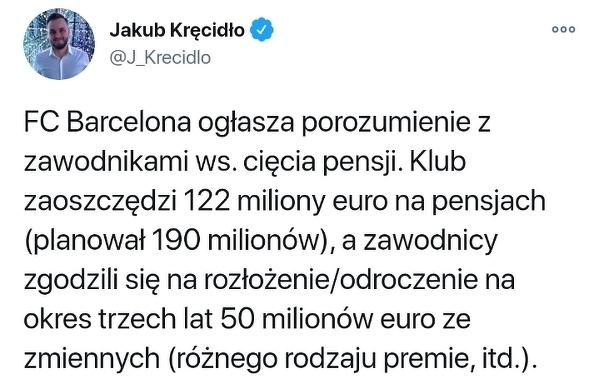 Barcelona doszła do porozumienia z zawodnikami w sprawie pensji