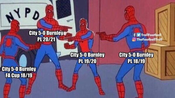 Ostatnie mecze Burnley na Etihad to piątka w plecy