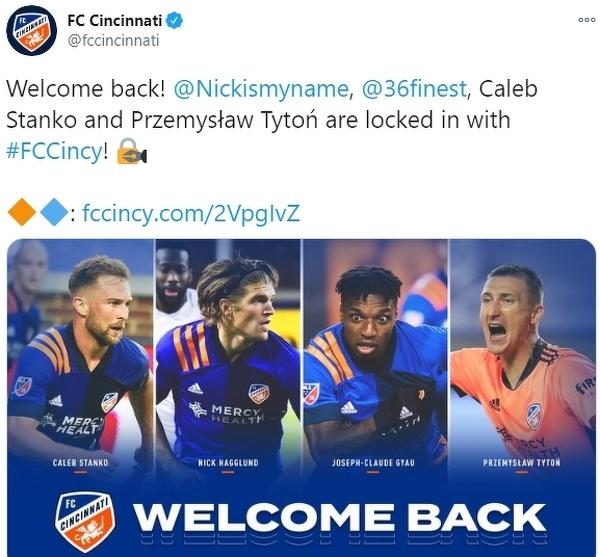Przemysław Tytoń przedłużył umowę z FC Cincinnati na sezon 2021