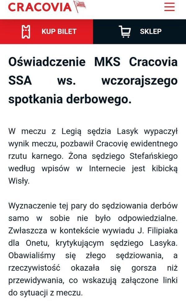 """Żenujące oświadczenie Cracovii: """"Sędzia wypaczył wynik, bo jego żona jest kibicką Wisły"""""""