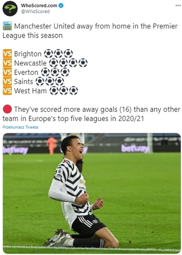Nikt tak w tym sezonie nie gra na wyjazdach jak Manchester United