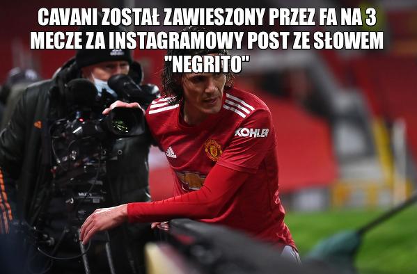 Cavani zawieszony na 3 mecze za kontrowersyjny post na Instagramie