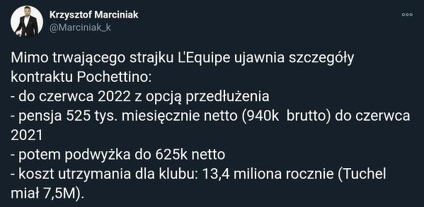 Tyle zarabia Pochettino w PSG