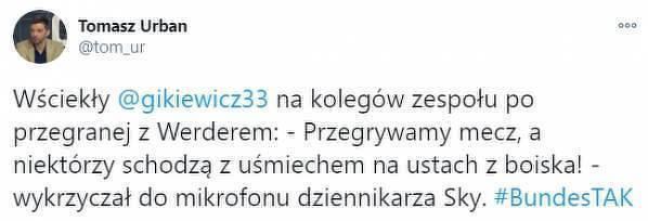 Ostra reakcja Gikiewicza po porażce z Werderem