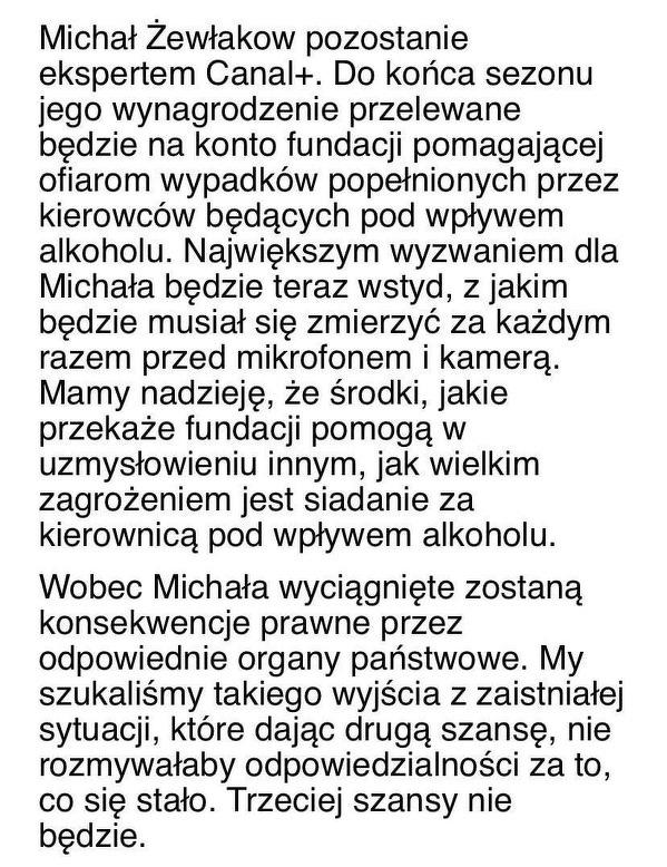 Decyzja Canal+ w sprawie Michała Żewłakowa