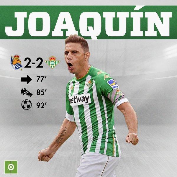 23 minuty wystarczyły, aby 39-letni Joaquin uratował Betis
