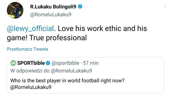 Lewandowski najlepszym piłkarzem na świecie według Lukaku