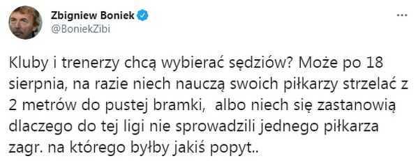 Boniek zabrał głos w sprawie sędziów w Ekstraklasie