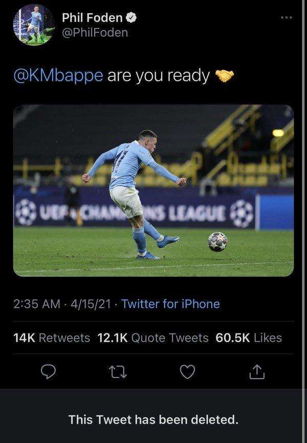 Taki tweet zamieścił na swoim profilu Foden, lecz później został usunięty
