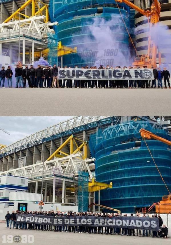 Ultras Sur (kibice Realu) protestują przeciwko Superlidze. Kilka lat temu Florentino Perez wyrzucił ich z Santiago Bernabeu