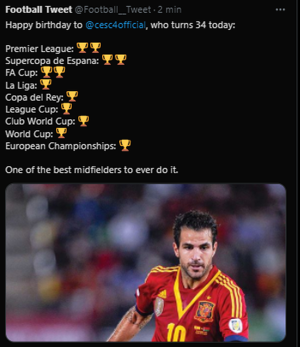 Cesc Fàbregas Soler kończy dziś 34 lata