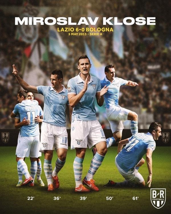 Dokładnie 8 lat temu Miroslav Klose strzelił 5 bramek w meczu Serie A