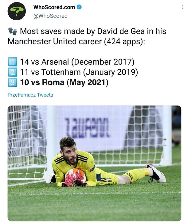 De Gea zaliczył wczoraj aż 10 udanych interwencji. Jeden z najlepszych jego wyników podczas jego kariery w Man Utd