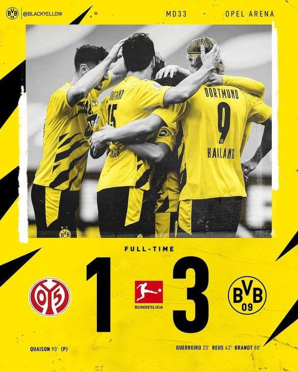Borussia Dortmund po zwycięstwie nad Mainz zapewniła sobie udział w Lidze Mistrzów