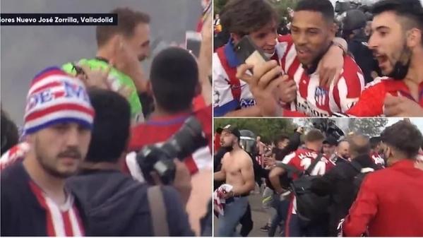 Piłkarze Atletico świętowali z kibicami.