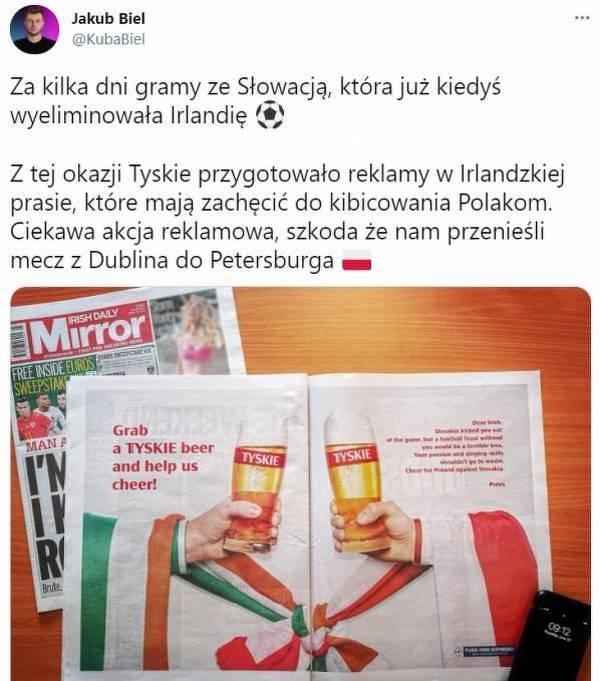 Tyskie zachęca Irlandzkich kibiców, aby wspierali Polskę
