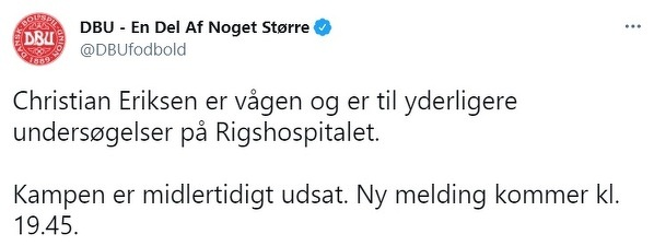 Duńska federacja potwierdza: Christian Eriksen jest przytomny, przechodzi badania.