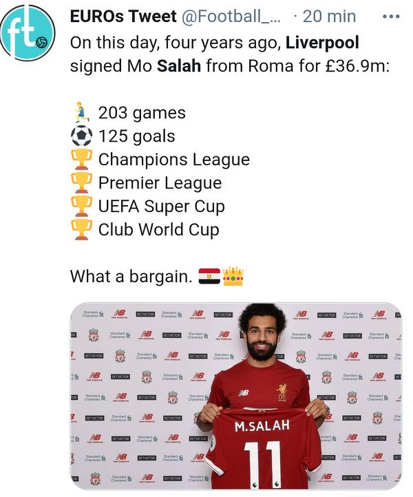 Dokładnie cztery lata temu Salah został piłkarzem Liverpoolu