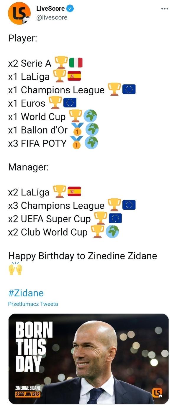 Zinedine Zidane obchodzi dzisiaj 49. urodziny