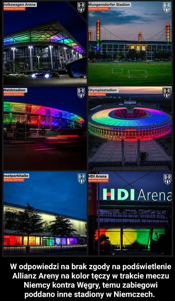 """""""Tęczowe"""" stadiony w całych Niemczech w trakcie meczu z Węgrami"""