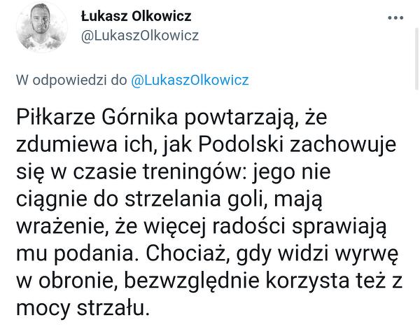 Ciekawe spostrzeżenie piłkarzy Górnika na temat Podolskiego