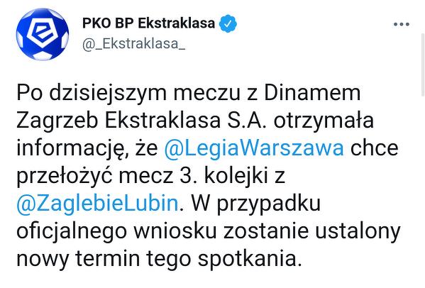Ekstraklasa przełożyła najbliższy mecz Legii