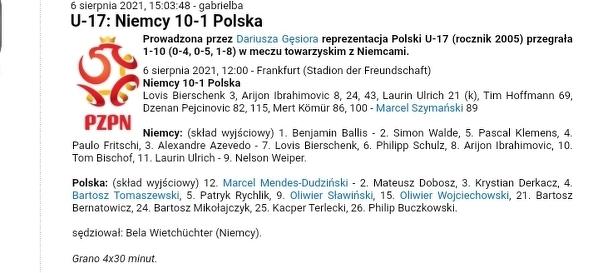 Wysoka porażka Polskiej reprezentacji U17 z Niemcami.