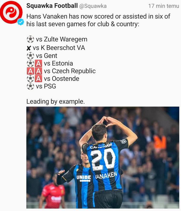 Hans Vanaken, strzelec gola dla Club Brugge, potwierdza fantastyczną formę w klubie i reprezentacji Belgii