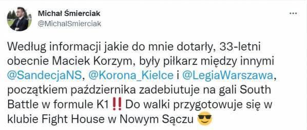 Maciej Korzym będzie walczyć