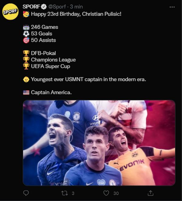 Christian Pulisic kończy dziś 23 lata