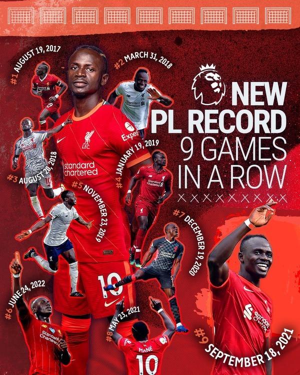 Mane strzelił gola w 9 kolejnych meczach ligowych przeciwko temu samemu rywalowi. Nowy rekord Premier League