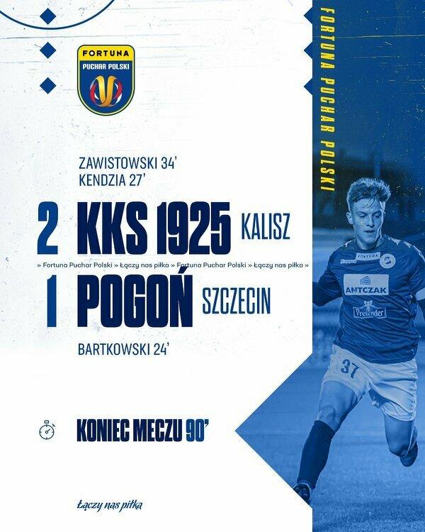 Drugoligowcy z Kalisza wyeliminowali Pogoń Szczecin z Pucharu Polski