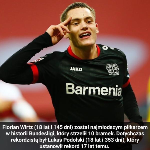Florian Wirtz z Bayeru Leverkusen ustanowił nowy rekord Bundesligi