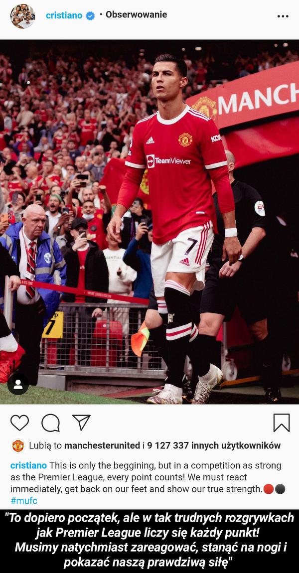 Ronaldo z apelem do kolegów z drużyny
