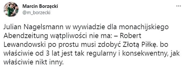"""Julian Nagelsmann: """"Lewandowski musi zdobyć Złotą Piłkę"""""""