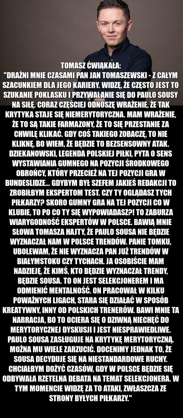 """Tomasz Ćwiąkała wyjaśnił """"ekspertów"""""""