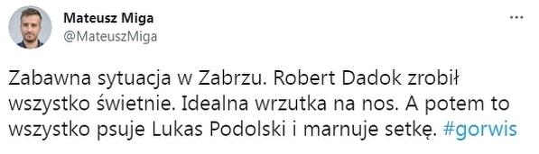 Podolski mógł strzelić dzisiaj pierwszego gola w Ekstraklasie