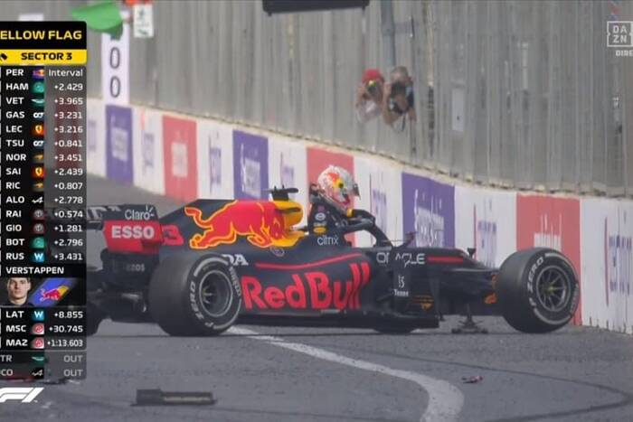 Verstappen prowadził, ale pechowo rozbił auto! Szalone GP Azerbejdżanu [WIDEO]