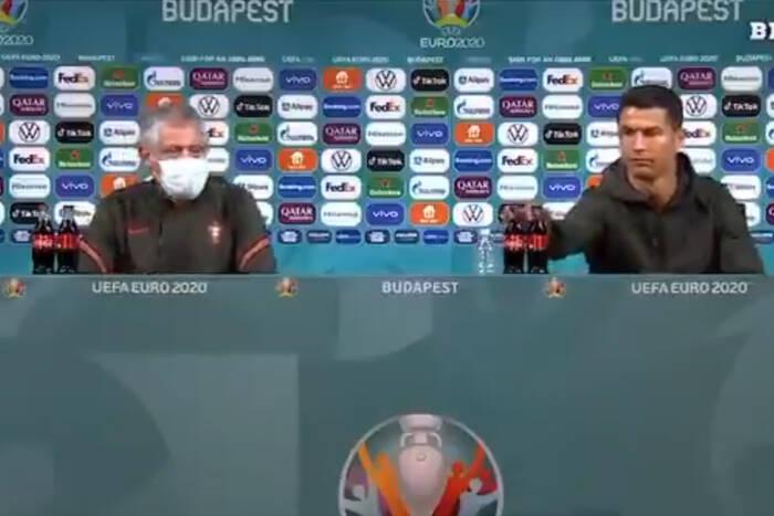 """""""Pijcie wodę, nie Coca-Colę"""". Cristiano Ronaldo zbeształ sponsora EURO 2020 [WIDEO]"""