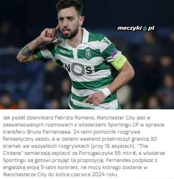 City chce Bruno Fernandesa