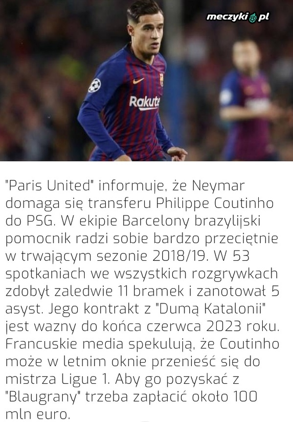 PSG chce Coutinho